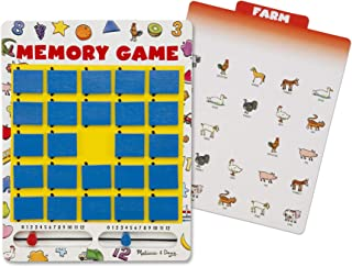 Melissa & Doug Flip-to-Win Memory Game (Travel Games, Bungee-Hinge Design, Colorful Illustrations, 7 Double-Sided Cards, Great Gift for Girls and Boys - Best for 5, 6, and 7 Year Olds)
