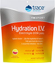 Trace Minerals Hydration I.V Electrolyte Powder Packets (Raspberry Lemonade, 48 Count) - Full Spectrum Mineral Mix to Ensu...