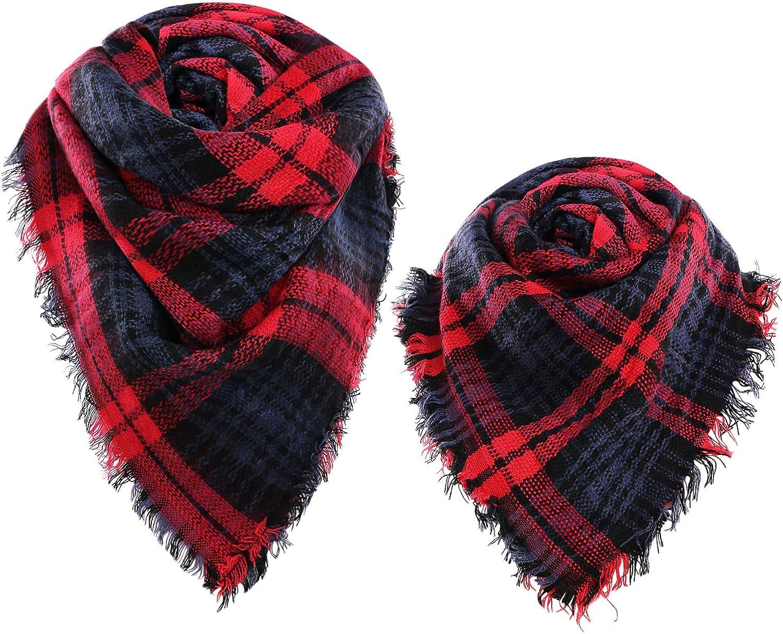 SUNFURA 2 pcs New Shipping Free Shipping Plaid Blanket Scarf Wrap Brand new Warm Chunky Tartan Shawl