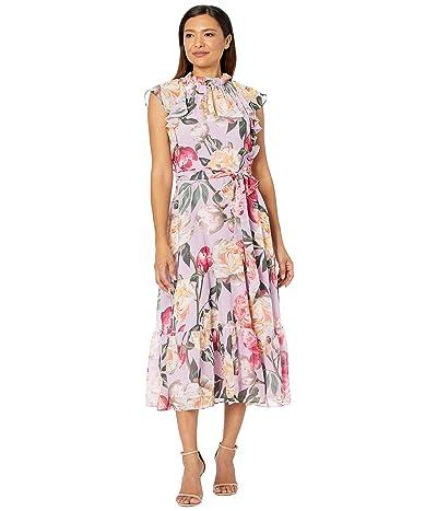 Tahari by ASL Printed Chiffon Midi Dress with Ruffle Details and Flounce Hemline (Pink Lush Garden) Women