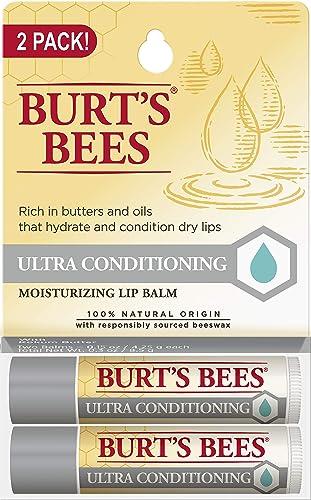 Burt's Bees Lip Balm Stocking Stuffer, Moisturizing Lip Care Holiday Gift, 100% Natural, Ulta Conditioning with Shea,...