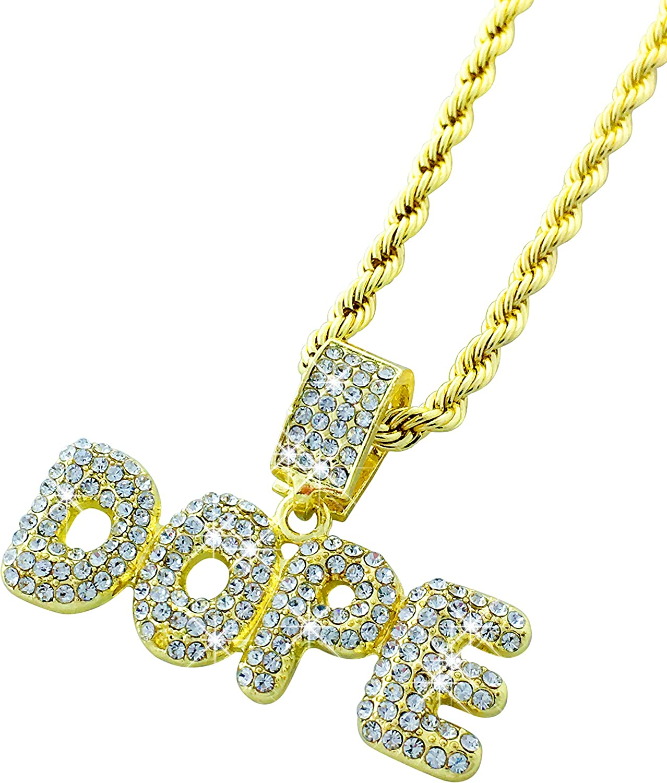 Exo Jewel CZ Diamond Bubble Word DOPE Gold Pendant with 24
