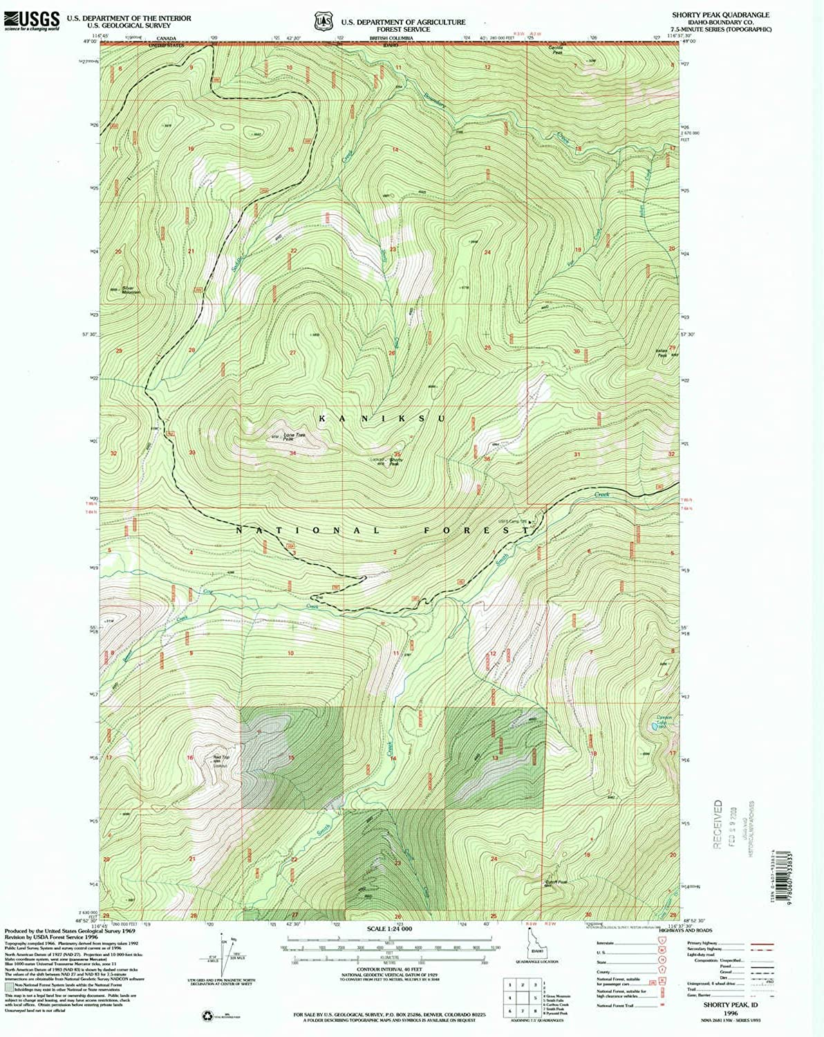 Shorty Peak ID topo map, 1 24000 Scale, 7.5 X 7.5 Minute, Historical, 1996, Updated 1999, 26.9 x 22 in
