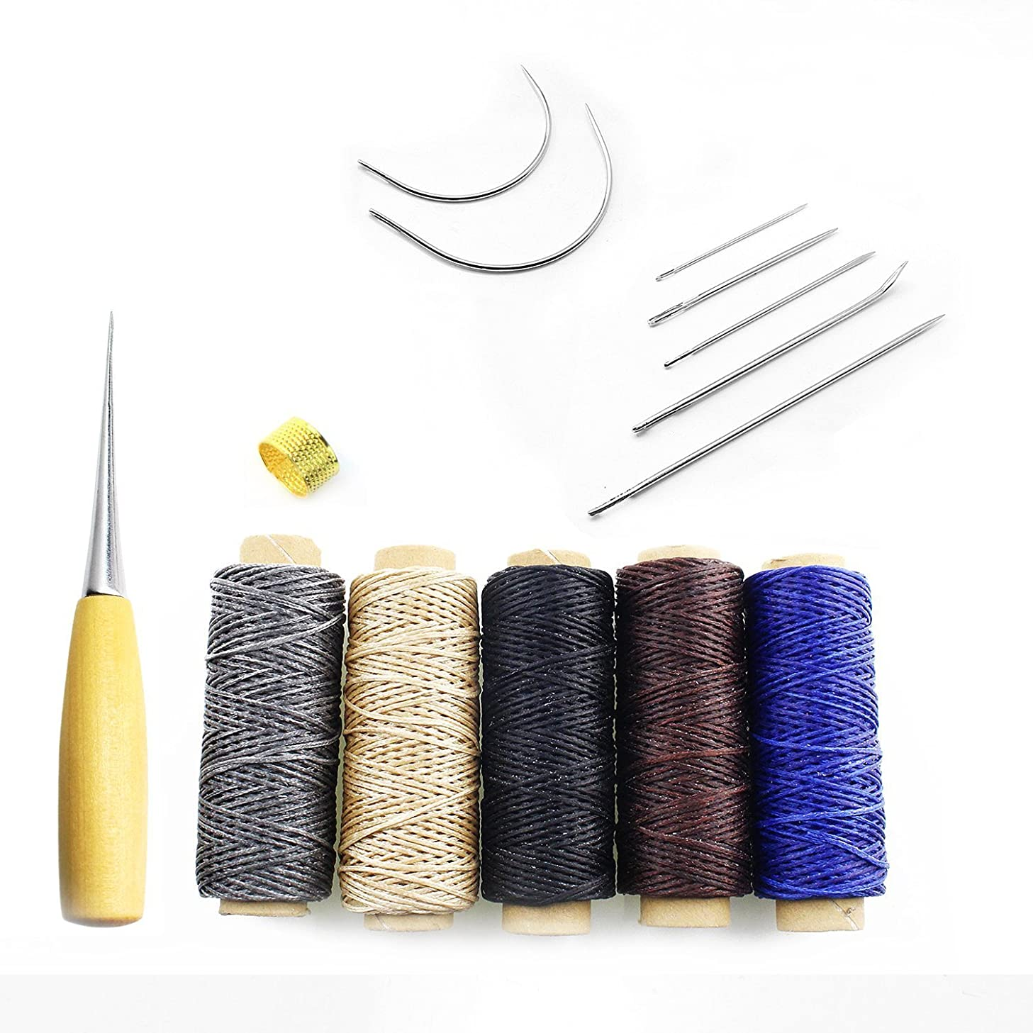 Sutemribor 14 Pieces Sewing Needles with Leather Waxed Thread Cord Drilling Awl and Thimble for Leather Repair