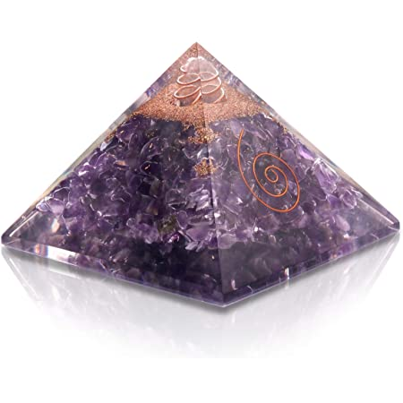 Rose and Crystal Quartz Orgone Reiki Pyramid Kit//Includes 4 Crystal Quartz Energy Points//EMF Protection Meditation Yoga Energy Generator Amethyst