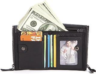 TONGDAUAE Men's Leather Wallet Double Zipper Bag Fashionable Top Layer Cowhide  Short Wallet Retro Change Money Bag (Color : Black, Size : S)