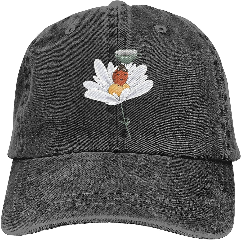 Ladybird Catching Raindrops Cowboy Hats Adjustable Classic American Style Hat Sun Hat Baseball Cap for Men and Women Black