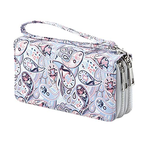 ae014dcd34 Women s Double Zipper Wallet Large Clutch Cellphone Bag with Wristlet and  ID Window