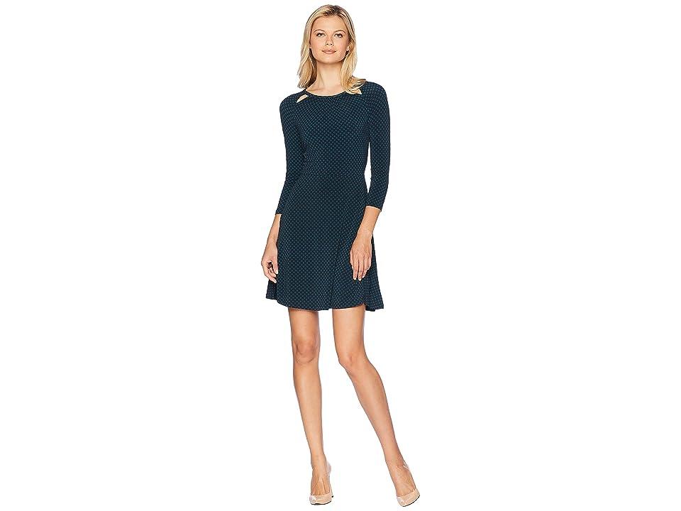 MICHAEL Michael Kors Sun Dot 3/4 Sleeve Dress (Black/Luxe Teal) Women
