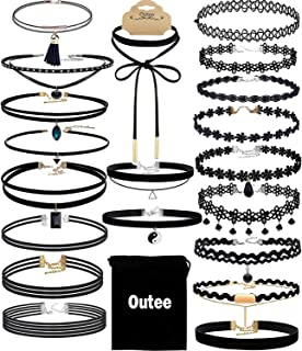 Choker Set, Outee 20 Pcs Black Choker Necklace Classic Choker Henna Choker Layered Necklaces for Women Girls with Material of Velvet