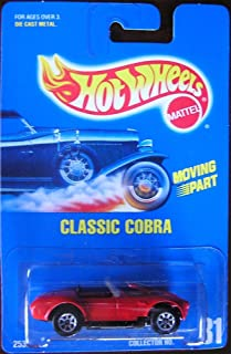 Hot Wheels-Classic Cobra (Ford Mustang)(Open-Top)-Collector #31. 1:64 Scale Collector Car Replica. Bright Red Body Color. 3-Spoke Wheel Hubs.