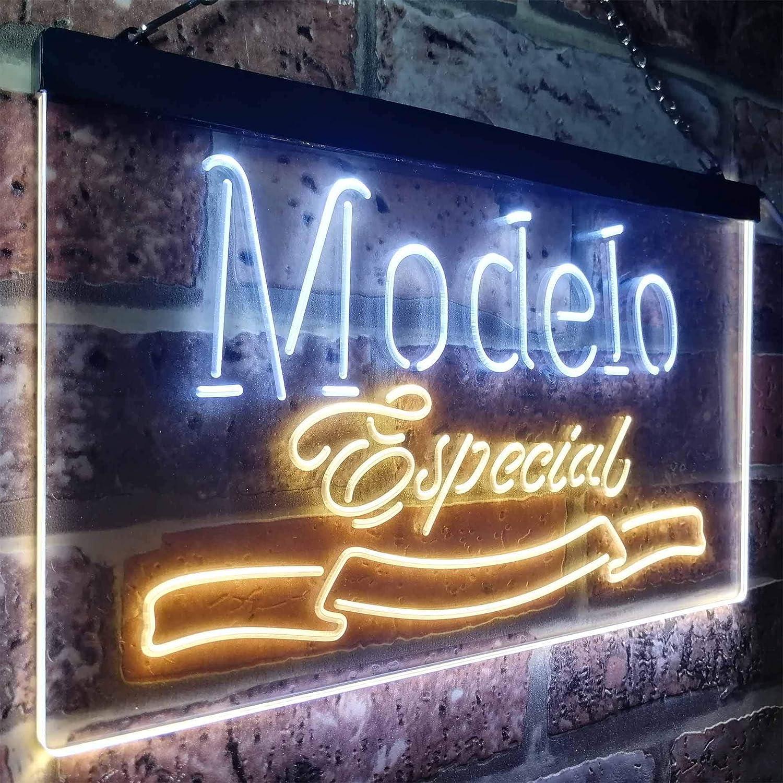 Zusme Modelo Especial 1925 Beer Bar Novelty LED Neon Sign Weiß + Gelb W40cm x H30cm