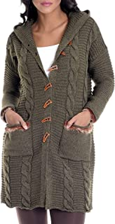 LEIF NELSON Women's Knit Jacket | Basic Casual Jacket With Hood | Ladies Hoodie Sweat Jacket | Warm Pullover | LN10145