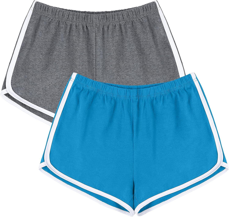 URATOT 2 Pack Cotton Sport Shorts Yoga Dance Short Pants Summer Athletic Shorts at  Women's Clothing store