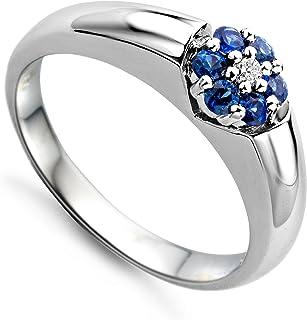 Miore - Sortija Oro y Diamantes 0.03 CT con zafiros 0.21 CT