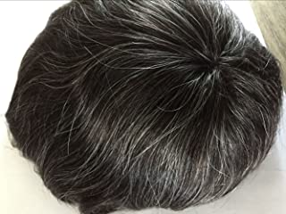8x10 Inches V Looped Full Pu Super Thin Skin Base Men Toupee Hair Piece Human Hair (1B20, 20% synthetic gray hair)