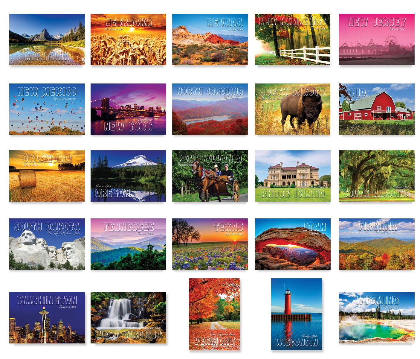 AMERICA THE BEAUTIFUL postcard set of 20 Made in USA. Post card variety pack depicting United States travel sites and American theme postcards