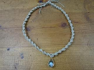 BEACH HEMP JEWELRY Mushroom Hemp Choker Necklace Light Blue Glass Pendant Handmade In USA