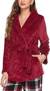 Women's Bed Jacket Fleece Cardigan Long Sleeve Robe Pockets Pajama Top Flannel Housecoat Sleepwear