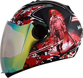 Steelbird SBA-2 7Wings Marine Full Face Graphic Helmet (Medium 580 MM, Matt Black/Red with Night Vision Gold Visor)