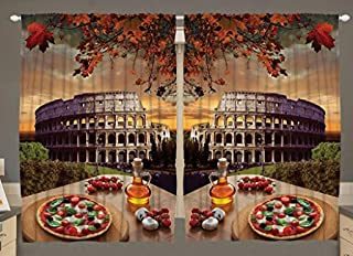 Ambesonne Rome Kitchen Curtains, Colosseum Italy Pizza Fall Leaves European Italian Picture Traditional Food at Autumn, Window Drapes 2 Panel Set for Kitchen Cafe Decor, 55