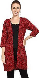 Serein Women's Crepe Shrug/Jacket (Red Animal Printed)