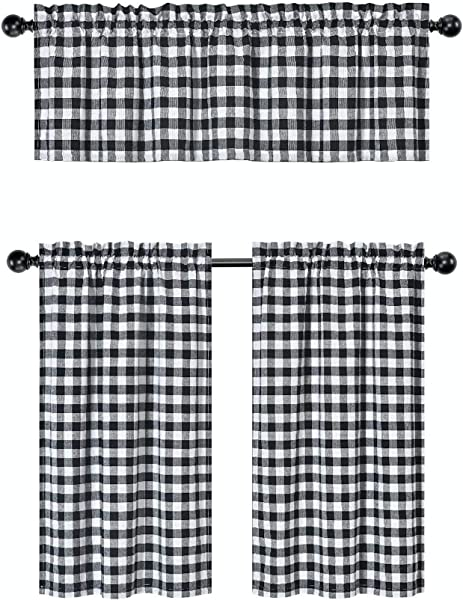GoodGram 3 Pc Plaid Country Chic Cotton Blend Kitchen Curtain Tier Valance Set Assorted Colors Black