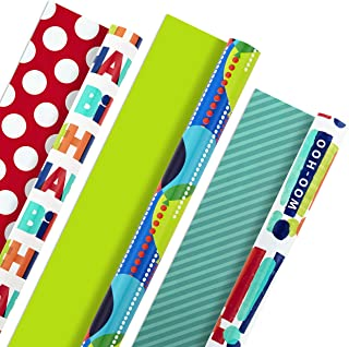 Hallmark Reversible Birthday Wrapping Paper (Pack of 3, 120 sq. ft. ttl.) Bright Balloons, Happy Birthday, Polka Dots
