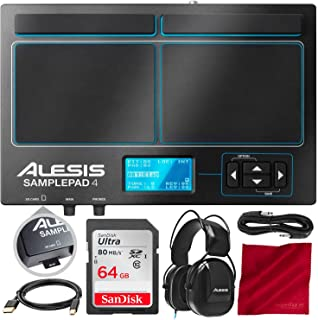 Alesis SamplePad 4 with Bundle Accessory Kit | Compact 4-Pad Electronic Drum Kit | Includes Alesis DRP100 Electronic Drum Reference Headphones + SanDisk 64 GB Memory Card + 1/4-Inch Cable + USB Cable