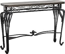 Ravenna Home Wood and Metal End Table, 44W, Dark Oak, Black Metal