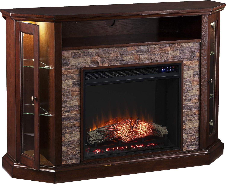 SEI Furniture Redden Branded goods Corner New Espresso Fireplace free shipping