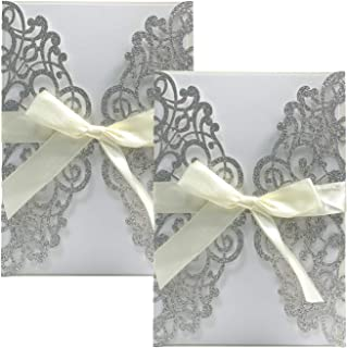 Gold Fortune 20 Packs Laser Cut Quinceanera Wedding Invitations with RSVP Cards Kit and Envelopes for Baby Shower Party Favors Girl (Glitter Silver)