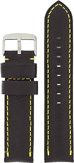 20mm Watch Band Long Black Leather Yellow Stitching Padded
