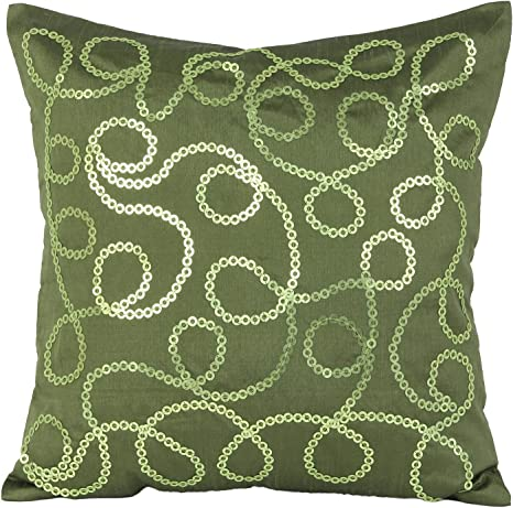 Amazon Com The White Petals Moss Green Decorative Pillow Cover Sequinned Moss Green Throw Pillow Cover With Knotty Rings For Elegant Home Decor Moss Green 14x14 Inches Home Kitchen