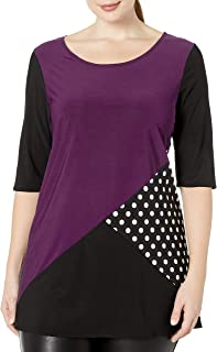 Star Vixen Women's Plus Size 3/4 Sleeve Scoop Neck Tunic-Length Colorblock Ity Knit Top with Polka Dot Inset