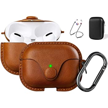 Maxjoy Compatible Airpods Pro Case Cover, Airpods 3 Leather Case Protective Cover with Keychain Airpods Strap Compatible with Apple Airpods Pro Charging Case 3rd Gen 2019 (Front LED Visible), Brown