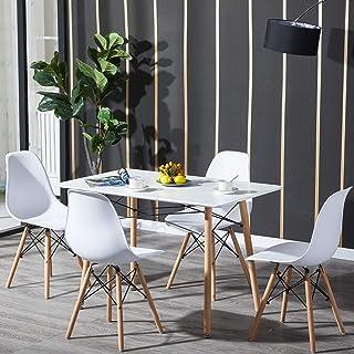 H.J WeDoo Tables de Salle à Manger, 4 Chaises Scandinaves et Tables Rectangulaire Meubles de Salle à Manger pour la Maison...