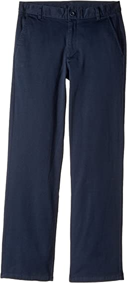Regular Flat Front Twill Stretch Pants (Big Kids)