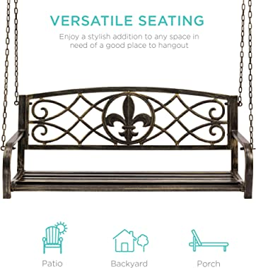 Best Choice Products 2-Person Metal Outdoor Porch Swing, Hanging Patio Bench w/Weather-Resistant Steel, 485lb Weight Capacity
