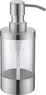Countertop Soap Dispensers WENKEN Lotion Clear Bottle With Rust Proof Stainless Steel Pump, Lotion/Soap Dispenser for Kitchen or Bathroom Countertops Brushed Finish 250ml