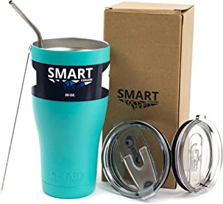 Tumbler 30 Oz Smart Cup - Ultra-Tough Double Wall Stainless Steel - Beast Style - Premium Insulated Mug - Powder Coated - Leak-Proof, Sliding Lid, Straw, Brush & Gift Box - Teal