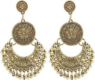BaubleStar Vintage Antique Silver Dangle Chandelier Earrings Beaded Tassel Earring for Women Girls