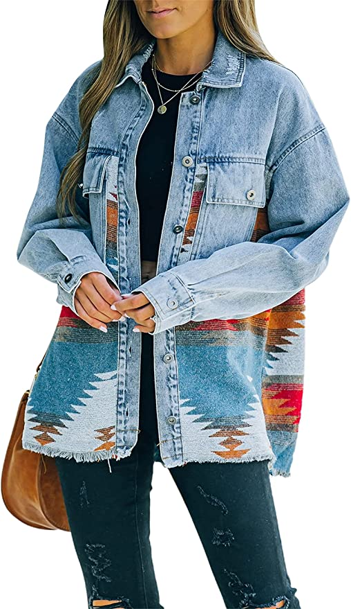 Springrain Womens Aztec Print Shacket Lapel Long Sleeve Button Down Shirt Jacket