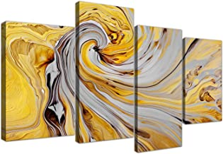 Wallfillers Large Mustard Yellow and Grey Spiral Swirl - Abstract Canvas Split 4 Part - 4290