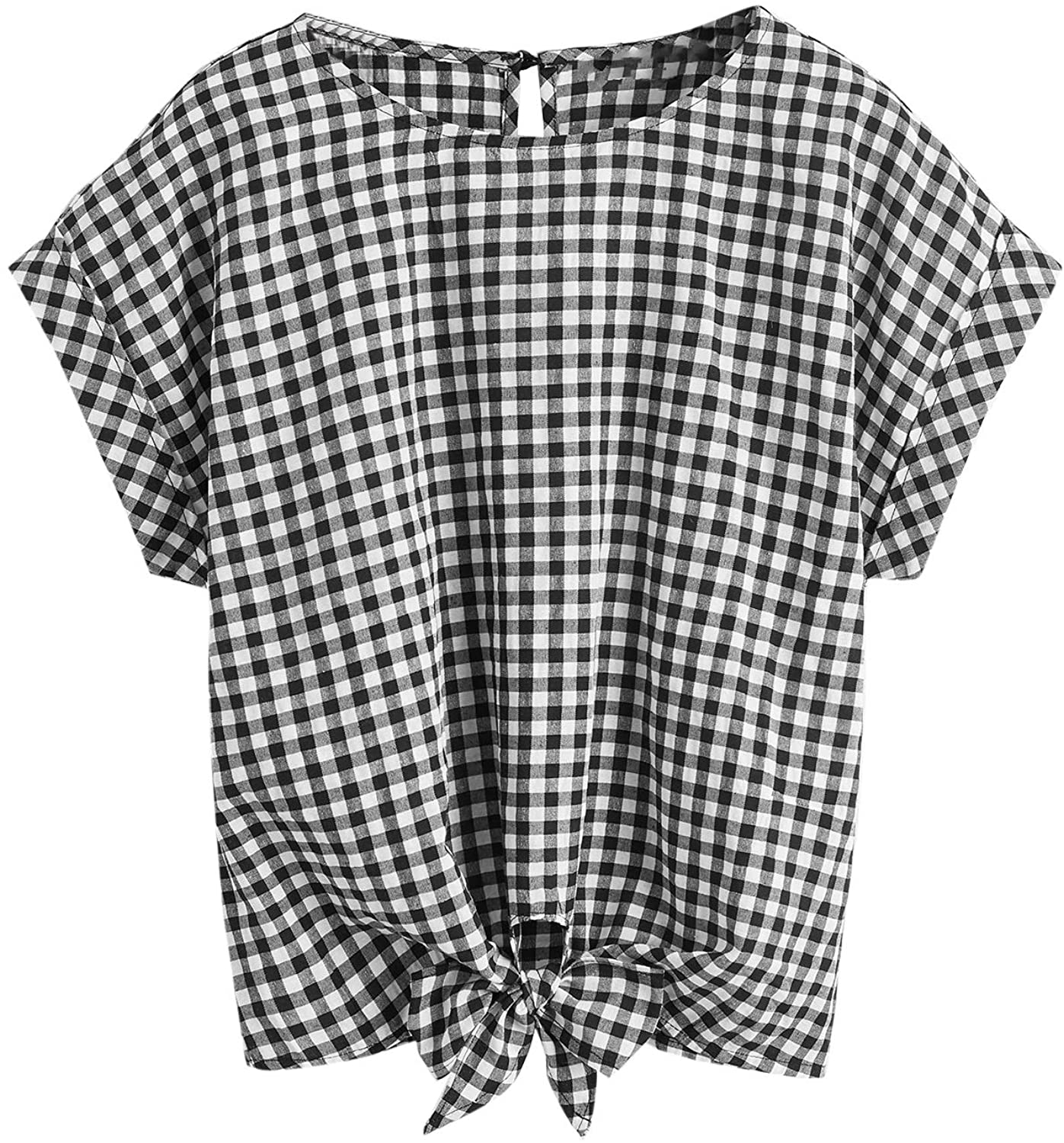 Romwe Women's Casual Plaid Batwing Short Sleeve Knot Front Loose Blouse Tops Shirts