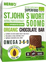 St. John's Wort Extract 500 mg 0.3% Hypericins in Organic Dark Chocolate by Herbo Superfood - for Anxiety, Depression and Stress Relief - 30 Omega-3 Enriched Bars, Non-GMO, Gluten Free
