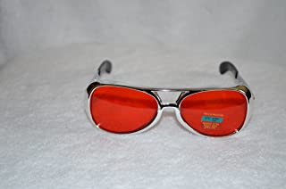 Elvis Small Red Sunglasses with Silver Frame - Aviator Glasses