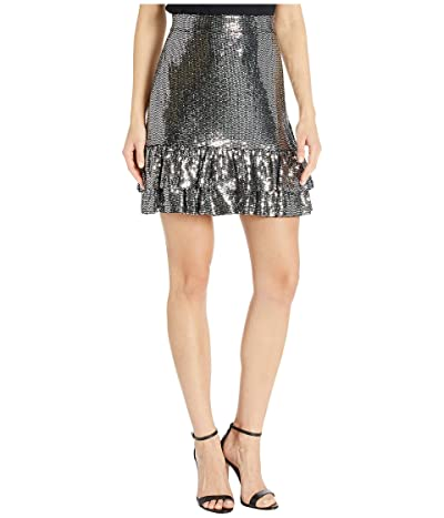 MICHAEL Michael Kors Mirror Dot 2Tier Skirt (Black/Silver) Women