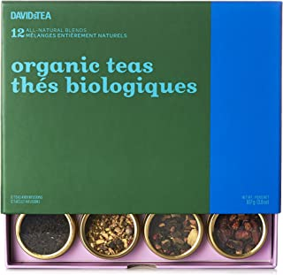 DAVIDsTEA Organic Tea Sampler, Caffeine-Free Loose Leaf Tea Gift Set, Assortment of 12 Herbal Teas, 83 g / 2.9 oz (SP)