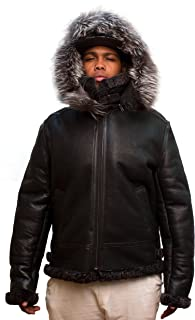 Men B-3 Genuine Shearling Leather Bomber Jacket Winter Aviator Coat Real Fur Hood Brown Grey Navy Black